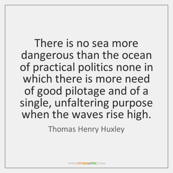 There is no sea more dangerous than the ocean of practical politics ...
