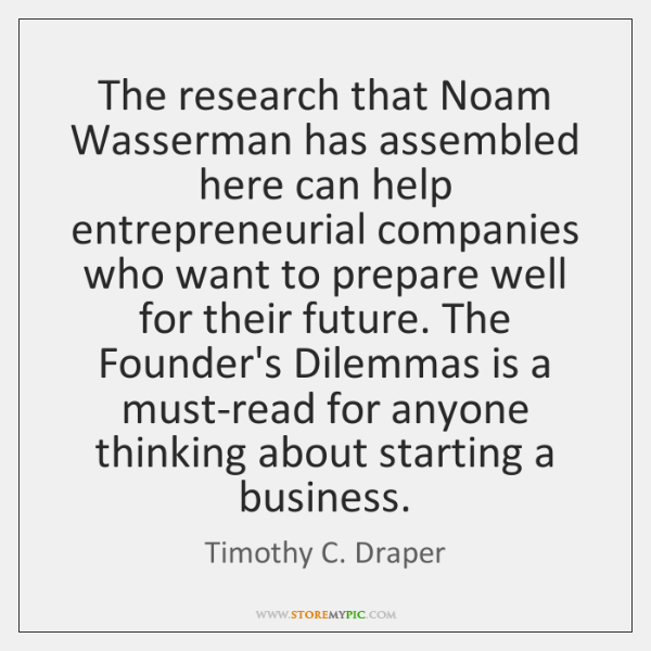 The research that Noam Wasserman has assembled here can help entrepreneurial companies ...