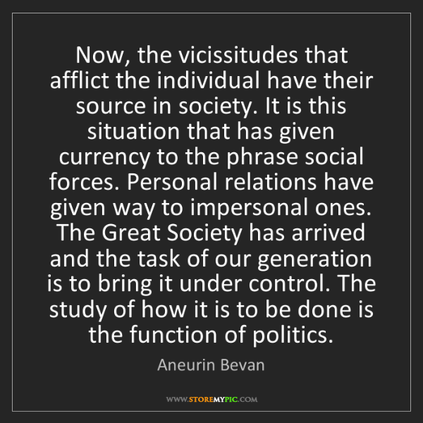 Aneurin Bevan: Now, the vicissitudes that afflict the individual have...