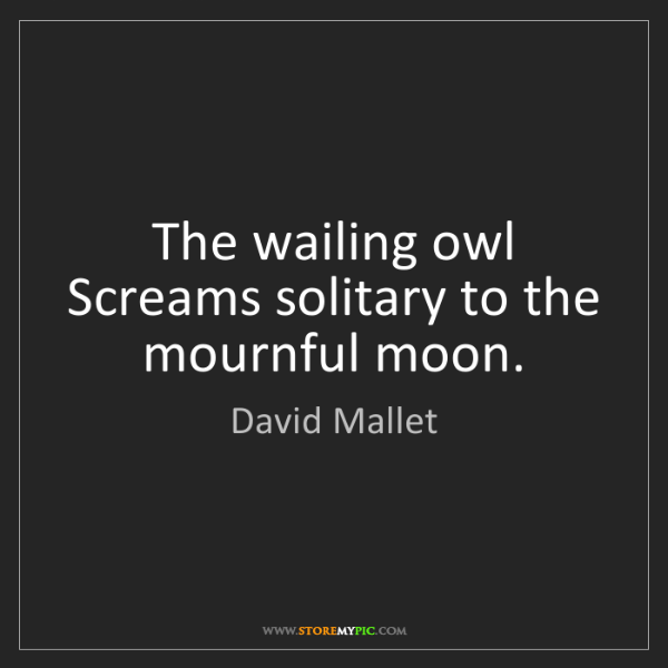 David Mallet: The wailing owl Screams solitary to the mournful moon.