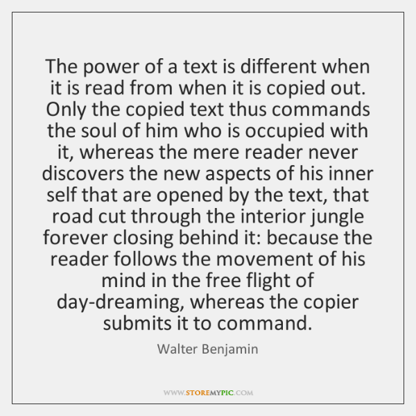 The power of a text is different when it is read from ...