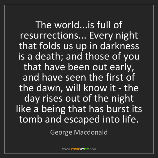George Macdonald: The world...is full of resurrections... Every night that...
