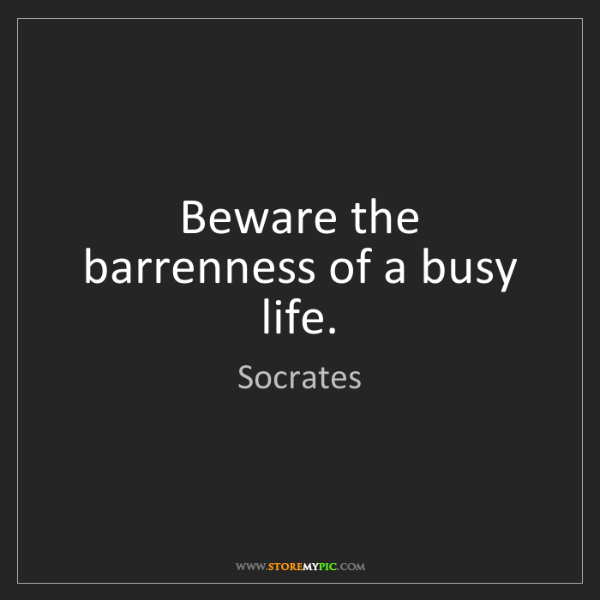 Socrates: Beware the barrenness of a busy life.