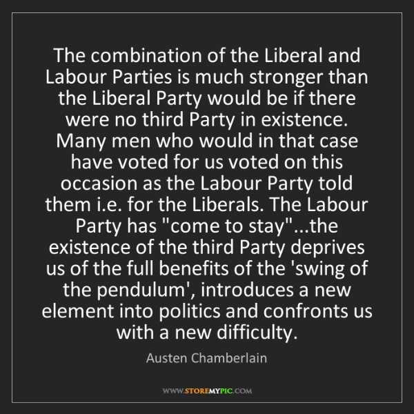 Austen Chamberlain: The combination of the Liberal and Labour Parties is...