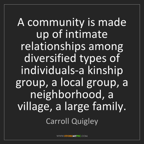 Carroll Quigley: A community is made up of intimate relationships among...