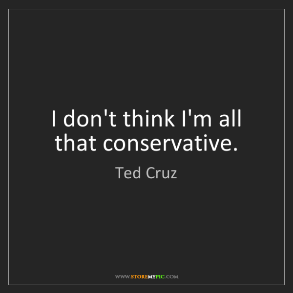 Ted Cruz: I don't think I'm all that conservative.