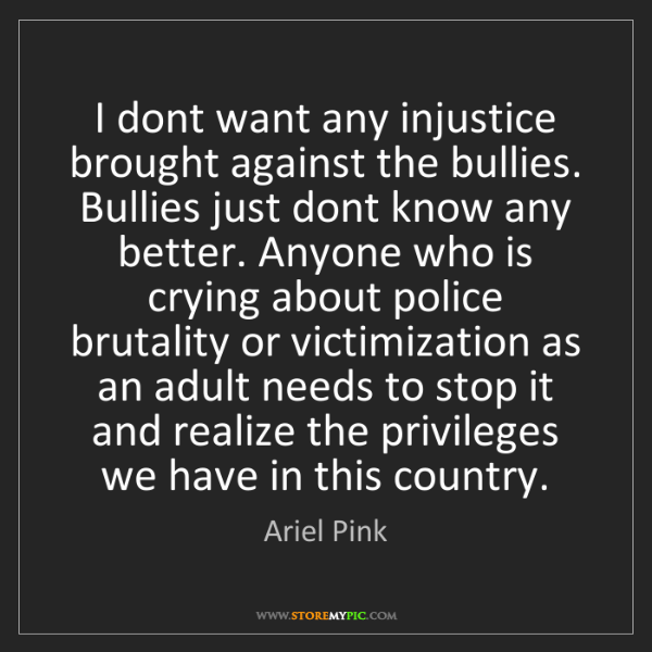 Ariel Pink: I dont want any injustice brought against the bullies....
