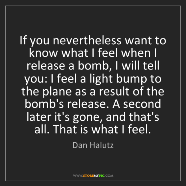 Dan Halutz: If you nevertheless want to know what I feel when I release...