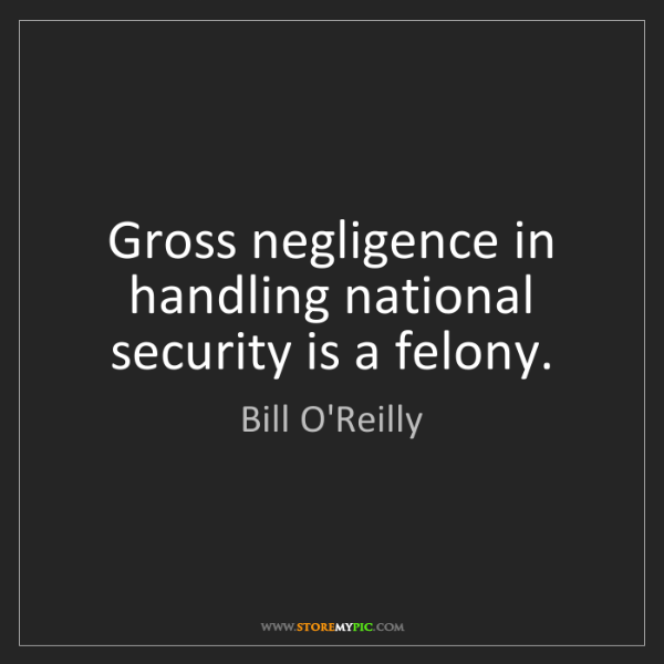 Bill O'Reilly: Gross negligence in handling national security is a felony.