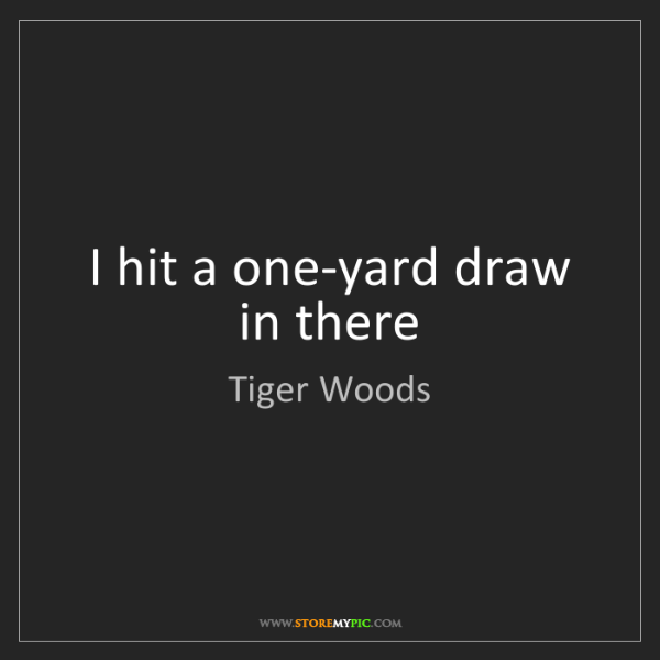Tiger Woods: I hit a one-yard draw in there