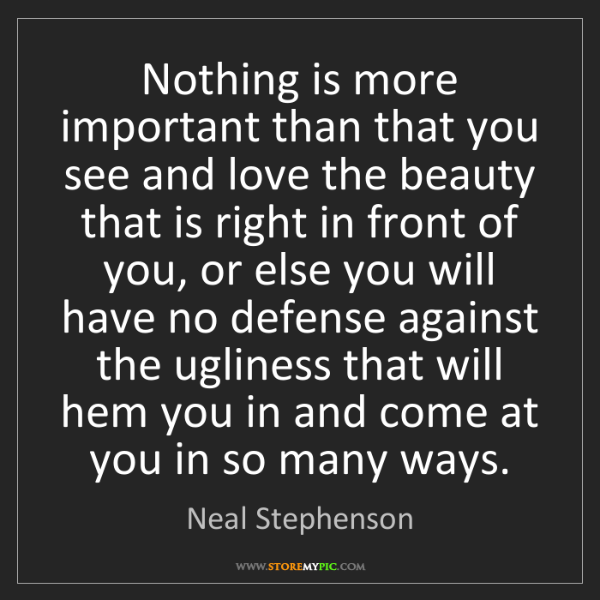 Neal Stephenson: Nothing is more important than that you see and love...
