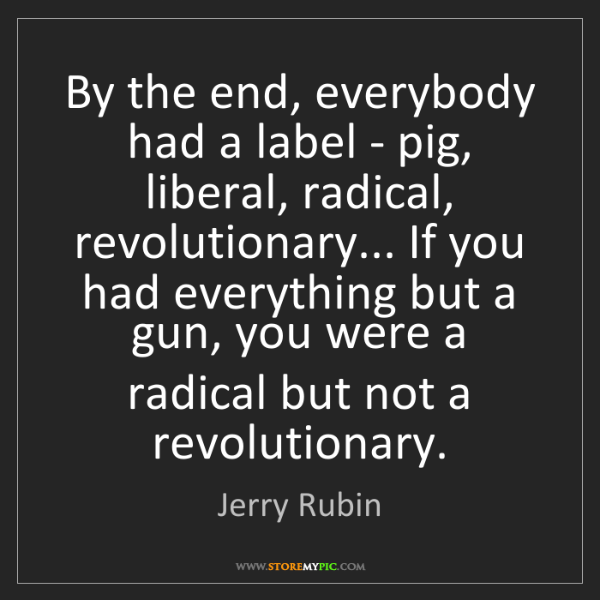 Jerry Rubin: By the end, everybody had a label - pig, liberal, radical,...