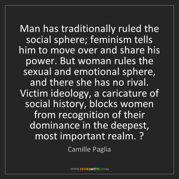 Camille Paglia: Man has traditionally ruled the social sphere; feminism...