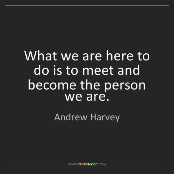 Andrew Harvey: What we are here to do is to meet and become the person...