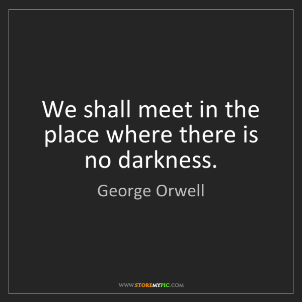 George Orwell: We shall meet in the place where there is no darkness.