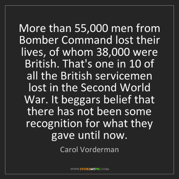 Carol Vorderman: More than 55,000 men from Bomber Command lost their lives,...