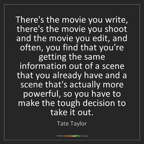 Tate Taylor: There's the movie you write, there's the movie you shoot...
