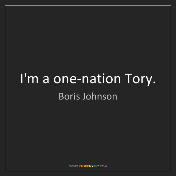 Boris Johnson: I'm a one-nation Tory.