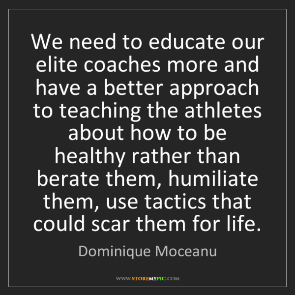 Dominique Moceanu: We need to educate our elite coaches more and have a...