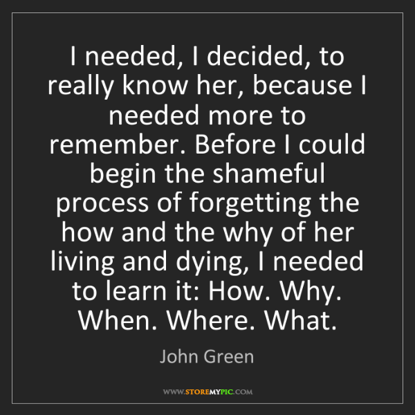 John Green: I needed, I decided, to really know her, because I needed...