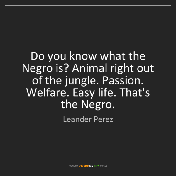 Leander Perez: Do you know what the Negro is? Animal right out of the...