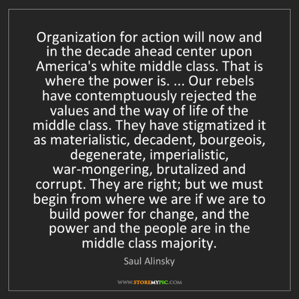 Saul Alinsky: Organization for action will now and in the decade ahead...