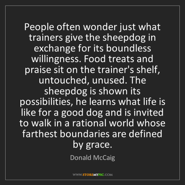 Donald McCaig: People often wonder just what trainers give the sheepdog...