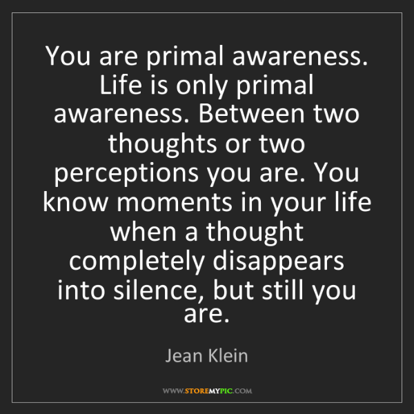 Jean Klein: You are primal awareness. Life is only primal awareness....