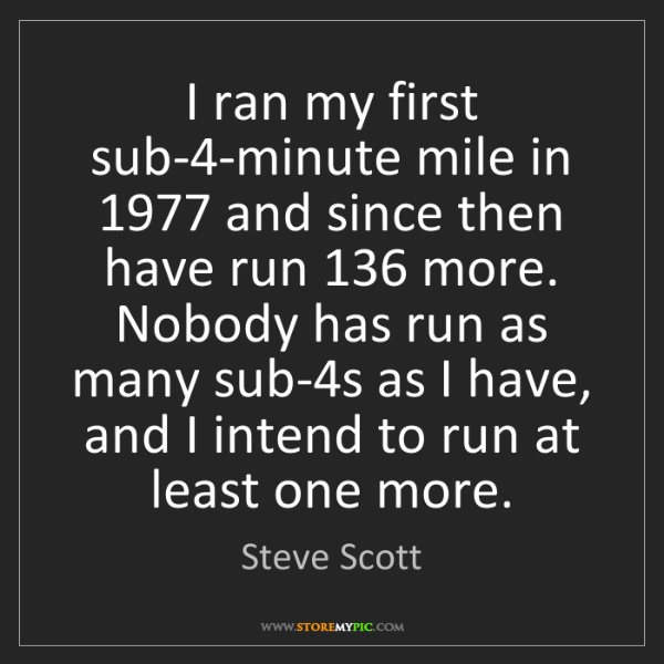 Steve Scott: I ran my first sub-4-minute mile in 1977 and since then...
