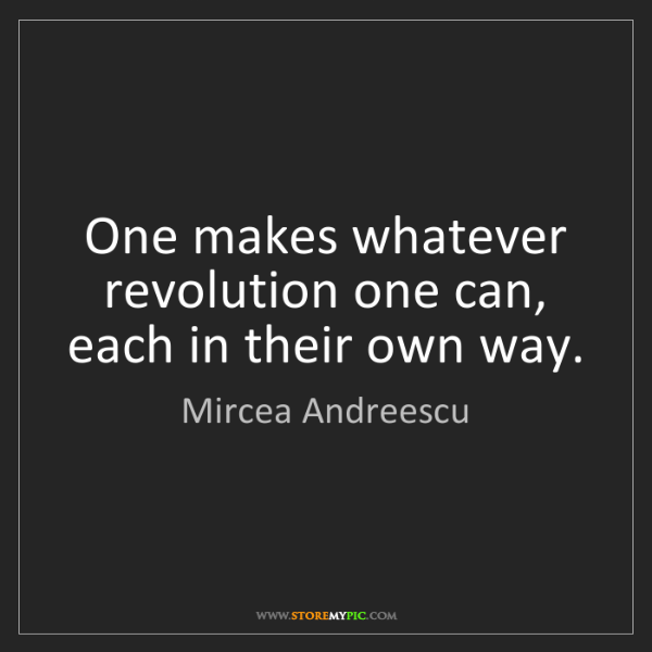 Mircea Andreescu: One makes whatever revolution one can, each in their...