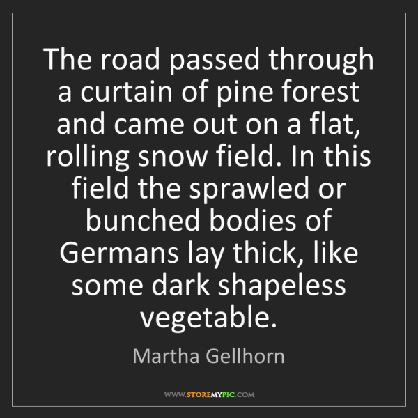 Martha Gellhorn: The road passed through a curtain of pine forest and...