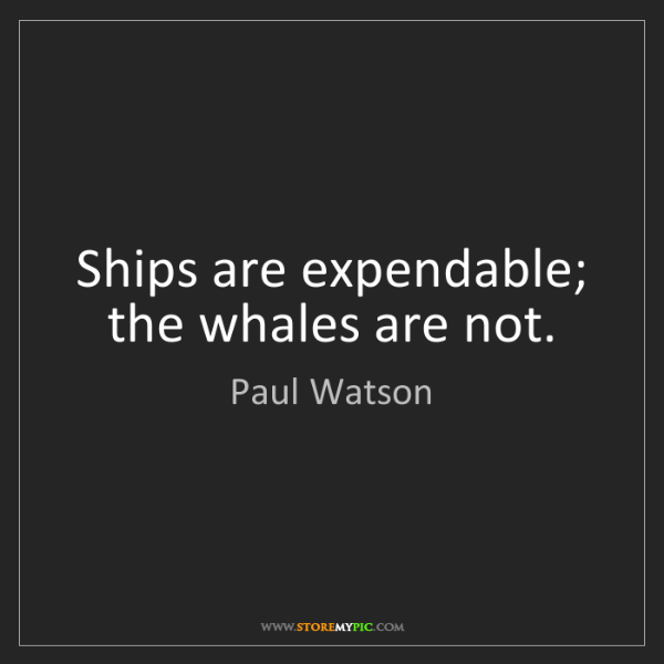 Paul Watson: Ships are expendable; the whales are not.