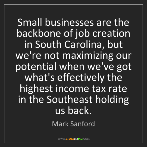 Mark Sanford: Small businesses are the backbone of job creation in...