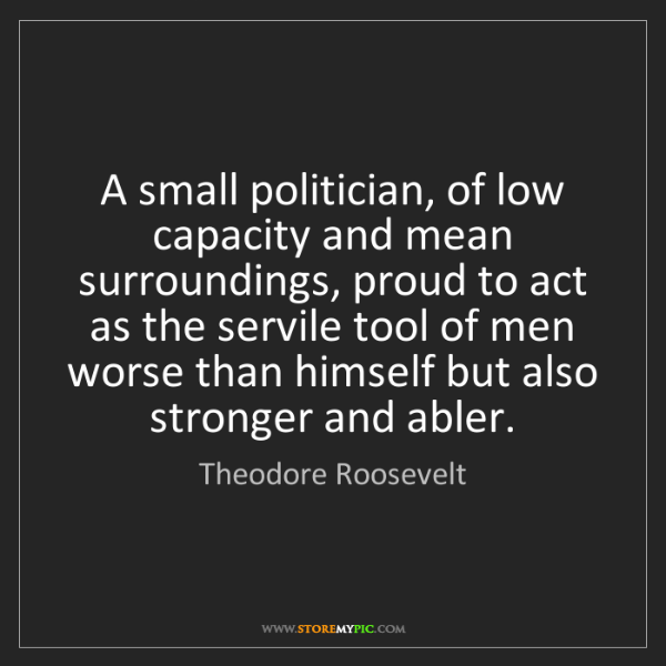 Theodore Roosevelt: A small politician, of low capacity and mean surroundings,...