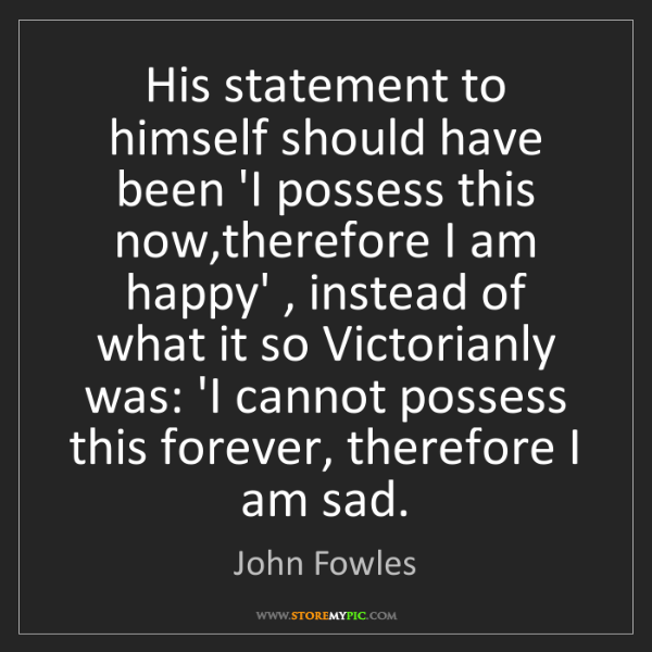 John Fowles: His statement to himself should have been 'I possess...