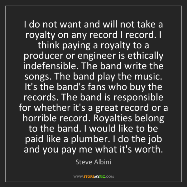 Steve Albini: I do not want and will not take a royalty on any record...