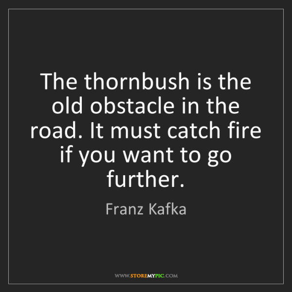 Franz Kafka: The thornbush is the old obstacle in the road. It must...