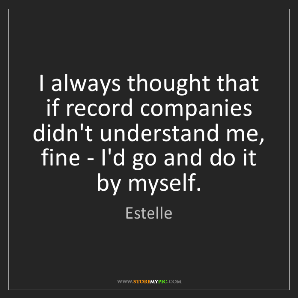 Estelle: I always thought that if record companies didn't understand...