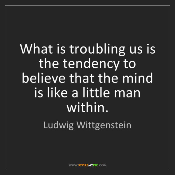Ludwig Wittgenstein: What is troubling us is the tendency to believe that...
