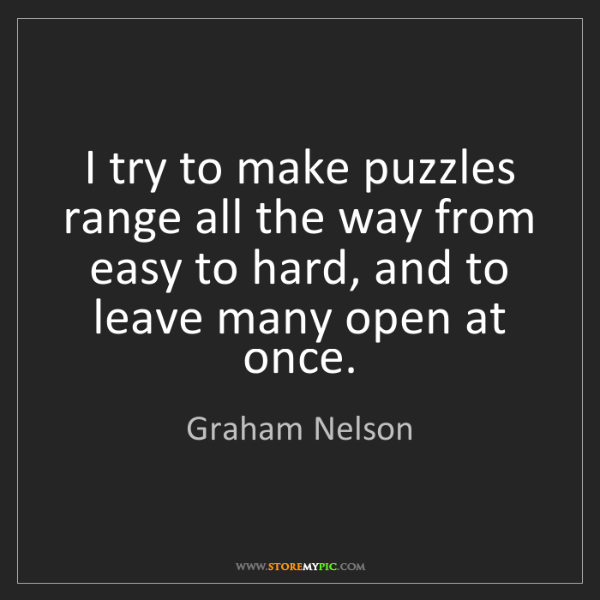 Graham Nelson: I try to make puzzles range all the way from easy to...