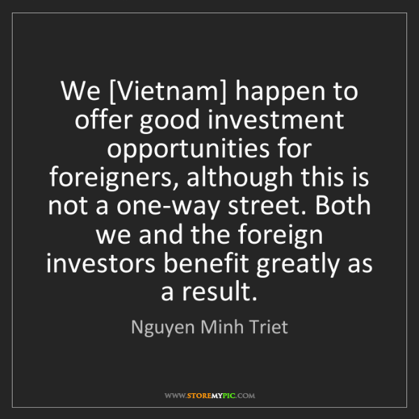 Nguyen Minh Triet: We [Vietnam] happen to offer good investment opportunities...