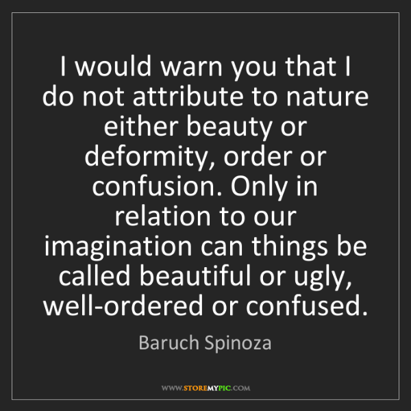Baruch Spinoza: I would warn you that I do not attribute to nature either...
