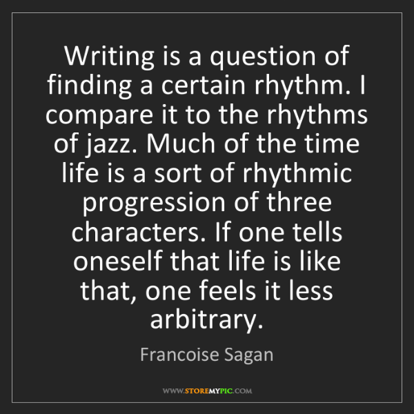 Francoise Sagan: Writing is a question of finding a certain rhythm. I...