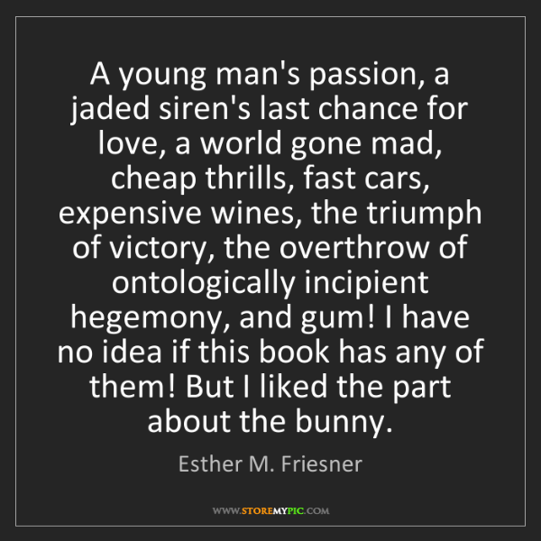 Esther M. Friesner: A young man's passion, a jaded siren's last chance for...