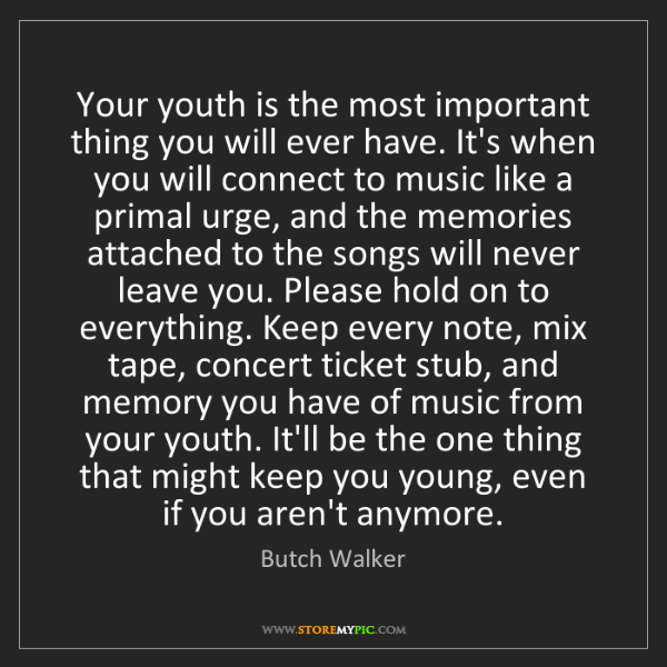 Quotes On The Importance Of Music: Butch Walker: Your Youth Is The Most Important Thing You