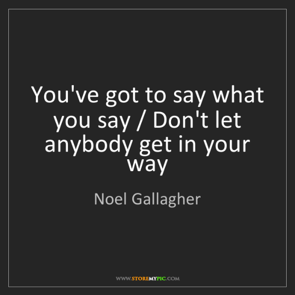 Noel Gallagher: You've got to say what you say / Don't let anybody get...