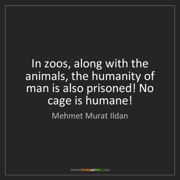 Mehmet Murat Ildan: In zoos, along with the animals, the humanity of man...