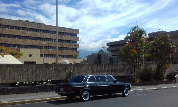 COSTA RICA GOVERNMENT COURT BUILDING.MERCEDES LIMOUSINE TOUR